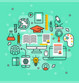 online learning flat design distant education vector image