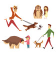 people walking and playing with their dogs set vector image