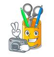 photographer desktop organizer shape on cartoon vector image