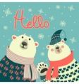 Polar bears say hello vector image vector image