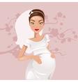 Pregnant bride vector image vector image