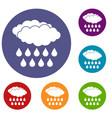 rain icons set vector image vector image