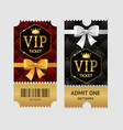 realistic detailed 3d vip tickets set vector image vector image