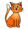 red sly cat isolated on white background vector image