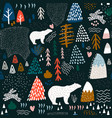 seamless pattern with bunnypolar bear forest vector image