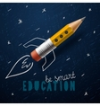 Smart education Rocket ship launch with pencil vector image vector image