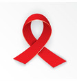Stop AIDS sign photorealistic red ribbon on white vector image