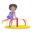 swinging round carousel for children s playground vector image vector image
