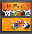 two halloween concepts with 3d balloons scary air vector image