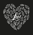 typography poster lettering love and feathers form vector image