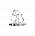 veterinary logo design on pets vector image vector image