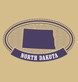 North Dakota map silhouette - oval stamp of state vector image