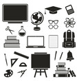 school black icons set isolated on white vector image