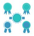 Retro blue color set of ribbon banner badges vector image