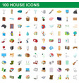 100 house icons set cartoon style vector image vector image