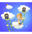 A girl sitting on a cloud holding an empty signage vector image vector image
