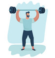 a handsome man lifting a barbell vector image