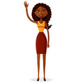 african american woman waving her hand flat vector image vector image