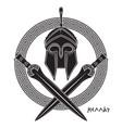 ancient hellenic helmet two crossed greek vector image vector image