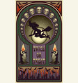 art nouveau halloween card witch and moon vector image vector image