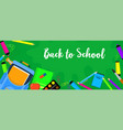 back to school green banner horizontal flat style vector image