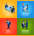 businesspeople working process in office set vector image