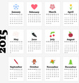 Calendar for 2015 Year with Cute Pictures for vector image