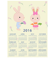 Calendar for 2016 with cartoon and funny bunnies vector image