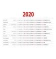 Calendar for 2020 vector image
