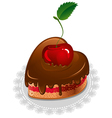 chocolate cake in the shape of the heart vector image vector image