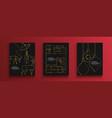 christmas new year gold holiday art deco card set vector image vector image