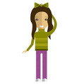 cute girl cartoon character wearing casual clothes vector image