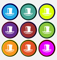 cylinder hat icon sign Nine multi-colored round vector image vector image