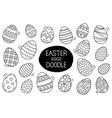 easter eggs set doodle style happy easter hand vector image vector image