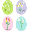 easter eggs with patterns flowers and bunnies vector image vector image