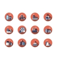 Factories and plants round flat icons set vector image vector image