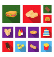 fast food flat icons in set collection for design vector image