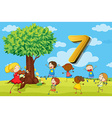 Flashcard number 7 with seven children in the park