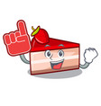 foam finger strawberry cake mascot cartoon vector image vector image