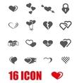 grey heart icon set vector image vector image
