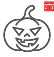 halloween pumpkin line icon and scary vector image vector image