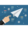 Hand launch paper rocket in space infographic vector image vector image