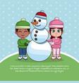 happy kids in winter vector image vector image