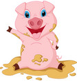 happy pig cartoon playing mud vector image