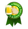 happy saint patrics day beer ribbon vector image