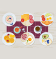 healthy breakfast food daily menu cheese biscuits vector image