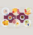 healthy breakfast food daily menu cheese biscuits vector image vector image