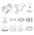 hippodrome and horse outline icons in set vector image vector image