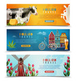 holland travel horizontal banners set vector image vector image