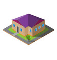 isometric purple roof house vector image vector image